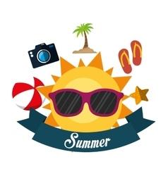 poster summer fun sun glasses ball flip flop vector image