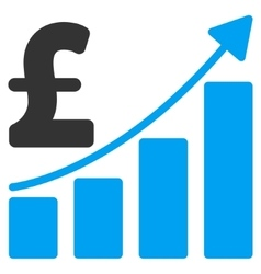 Pound Sales Growth Chart Flat Icon Symbol vector image vector image