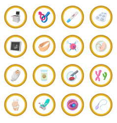 Pregnancy cartoon icon circle vector