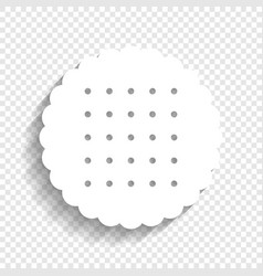Round biscuit sign white icon with soft vector