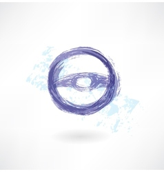 steering wheel grunge icon vector image vector image