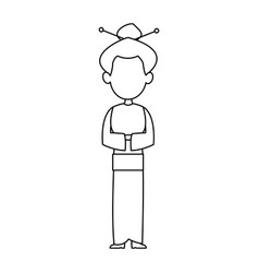 woman female standing character outline image vector image vector image
