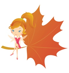 Fairy on leaf vector