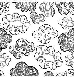 Cute hand drawn seamless pattern with clouds vector image