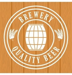 Brewery quality beer barrel wooden background vector