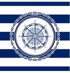 Sea emblem with a wind rose vector