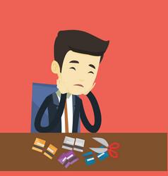 business man bankrupt cutting his credit card vector image