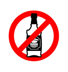 Stop alcohol bottle of whiskey on red circle road vector