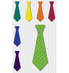 Bright pin stripe silk tie stickers in format vector image