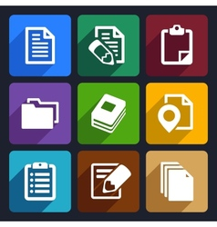 Documents and folders flat icons set 19 vector