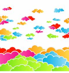 Rainbow cloudscape background vector