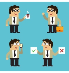 Business life employee poses vector