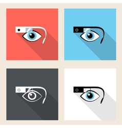 Google glasses icon set vector