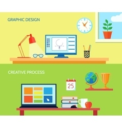 Workspace banner set vector