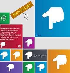 Pointing hand icon sign metro style buttons modern vector