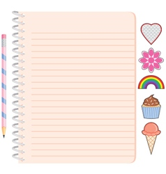 Spiral lined notebook with pencil and stickers vector