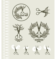 Set of vintage labels for hairdresser and barber vector