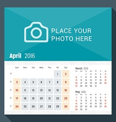 April 2016 desk calendar for 2016 year week starts vector