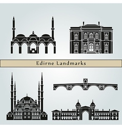 Edirne landmarks and monuments vector