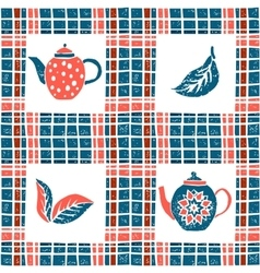 Seamless pattern in lino style teapots and plaid vector