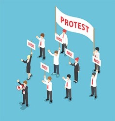 Isometric business people demonstration or protest vector