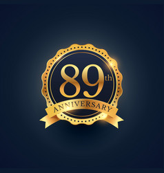 89th anniversary celebration badge label in vector image vector image