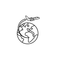 Airplane flying around earth line icon vector