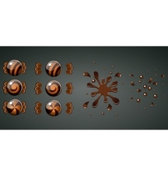 Braun chocolate candy with splash animation vector