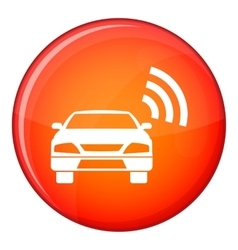 Car with wifi sign icon flat style vector