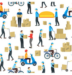 cartoon delivery workers background pattern on a vector image vector image