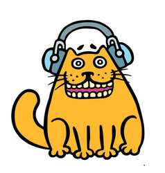 Cheerful orange cat in headphones vector