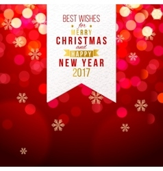 Christmas card on red bokeh background vector image vector image