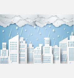 Cityscape with rain rainy season paper art style vector