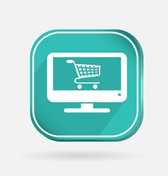 Color icon monitor with shopping cart vector