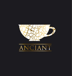 Decorative antique textured gold luxury cup icon vector