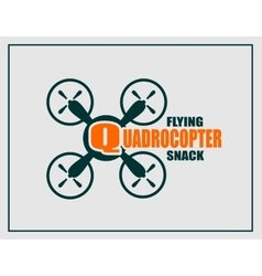 Drone icon quadrocopter flying snack text vector