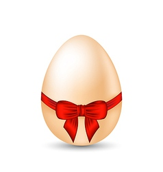 Easter celebration egg wrapping red bow vector image