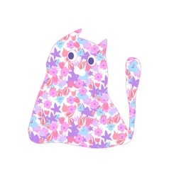 flower cat vector image vector image
