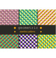geometric rhombus patterns set vector image vector image