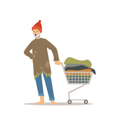 Homeless man character pushing shopping cart with vector