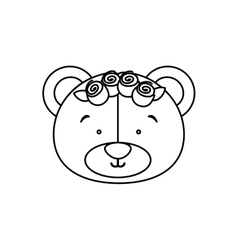 Monochrome contour with face of bride bear vector