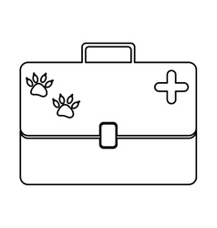 monochrome silhouette with vet first aid suitcase vector image