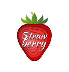 paper art strawberry vector image