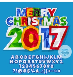 Paper sticker merry christmas 2017 greeting card vector