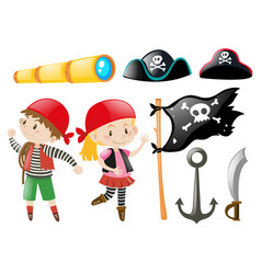 Pirate set with pirates and other elements vector