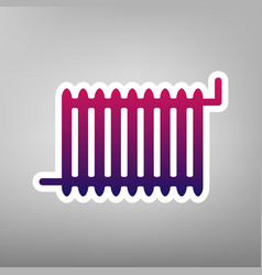 Radiator sign purple gradient icon on vector