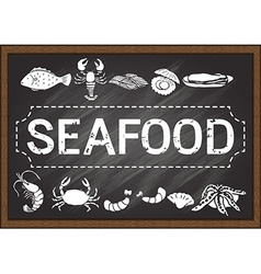 Seafood on chalkboard vector