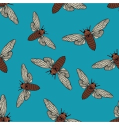 Seamless pattern with cicada cicadidae vector