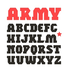 Serif geometric military font vector