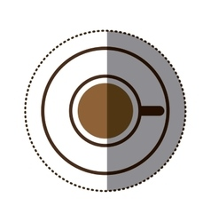 Silhouette color sticker with coffee cup top view vector